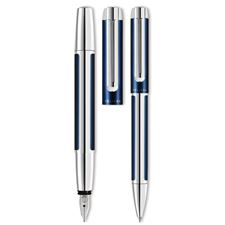 Picture of Pelikan Pura Blue And Silver Fountain Pen and Ballpoint Set
