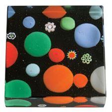 Picture of Eccolo Murano Glass Paperweight Dots Black