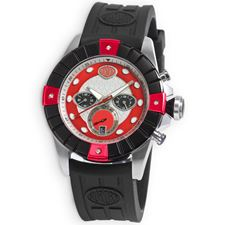 Picture of Aurora Chrono Watch Steel Case Black Bezel Red Indicators Rubber Strap