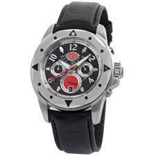 Picture of Aurora Chrono Watch Black Case Rose Gold Bezel Leather Strap