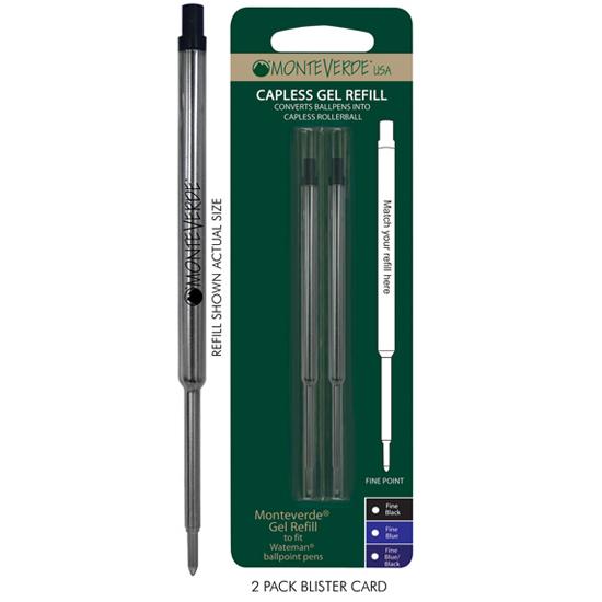 Black Monteverde® Capless Gel to fit Waterman® Ballpoint Pens 4 Pack