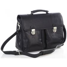 Picture of Aston Leather Briefcase with Gusseted Front Locked Pockets for Men