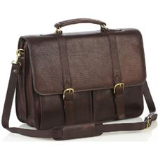 Picture of Aston Leather Brown Briefcase with two front pockets for Men
