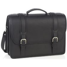 Picture of Aston Leather Double Compartment Briefcase for Men Black