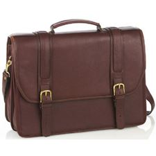 Picture of Aston Leather Double Compartment Briefcase for Men Brown