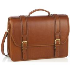 Picture of Aston Leather Double Compartment Briefcase for Men Tan