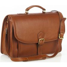 Picture of Aston Leather Briefcase with Front Gusseted Pocket for Men Tan