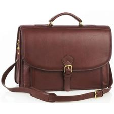 Picture of Aston Leather Briefcase with Front Gusseted Pocket for Men Brown