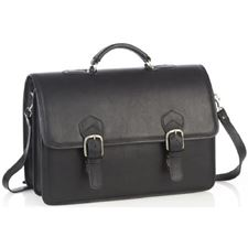 Picture of Aston Leather Oversized Multi-Compartment Briefcase for Men Black