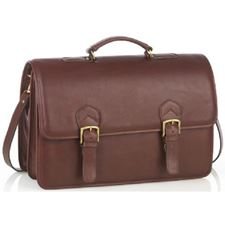 Picture of Aston Leather Oversized Multi-Compartment Briefcase for Men Brown