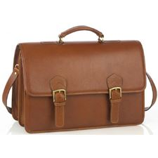 Picture of Aston Leather Oversized Multi-Compartment Briefcase for Men Tan