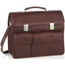 Picture of Aston Leather Double-Lock Double Compartment Briefcase w 2 Exterior Front Pockets