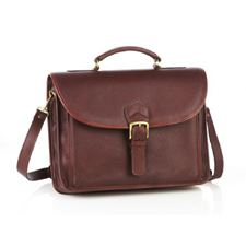 Picture of Aston Leather Single Compartment Briefcase for Men Brown