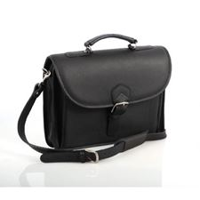 Picture of Aston Leather Single Compartment Briefcase for Men Black