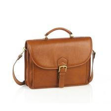 Picture of Aston Leather Single Compartment Briefcase for Men Tan