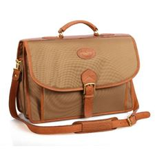 Picture of Aston Leather Ballisitic Double Compartment Briefcase for Men Tan