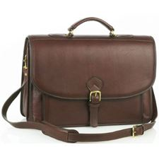 Picture of Aston Leather Ballisitic Double Compartment Briefcase for Men Brown