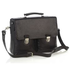 Picture of Aston Leather Expandable Double Compartment Briefcase for Men Black