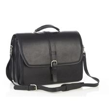Picture of Aston Leather Triple Compartment Briefcase for Men Black