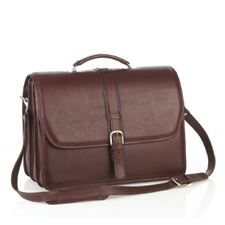 Picture of Aston Leather Triple Compartment Briefcase for Men Brown