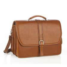 Picture of Aston Leather Triple Compartment Briefcase for Men Tan