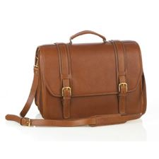 Picture of Aston Leather Quad Compartment Briefcase for Men Tan