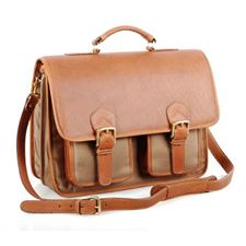 Picture of Aston Leather Ballistic Double Compartment Briefcase for Men Tan