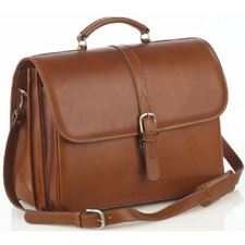 Picture of Aston Leather Briefcase with Laptop Computer Case for Men Tan
