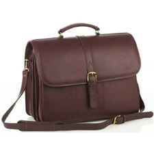 Picture of Aston Leather Briefcase with Laptop Computer Case for Men Brown