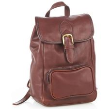 Picture of Aston Leather Small Drawstring Brown Backpack with Front Zip Pocket