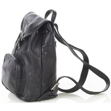 Picture of Aston Leather Medium Drawstring Black Backpack w Front Zip Pocket