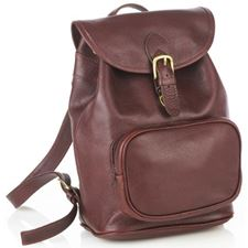 Picture of Aston Leather Medium Drawstring Brown Backpack w Front Zip Pocket