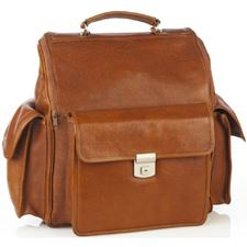 Picture of Aston Leather Oversize Backpack with 3 Large Outside Pockets Tan for Men