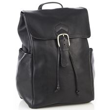 Picture of Aston Leather Large Drawstring Backpack Black