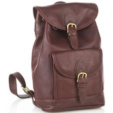Picture of Aston Leather Medium Drawstring Brown Backpack w Front Buckle Pocket
