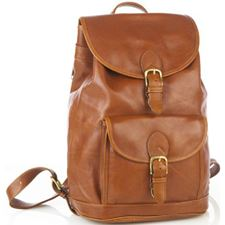 Picture of Aston Leather Large Drawstring Tan Backpack w Front Buckle Pocket