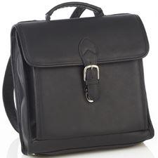 Picture of Aston Leather Convertible Backpack Shoulder Bag Black