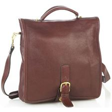Picture of Aston Leather Medium Convertible Long Flap Backpack Shoulder Bag Brown For Men