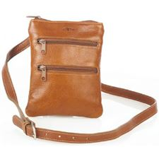 Picture of Aston Leather Ladies Slim Tan Double Zippered Shoulder Bag