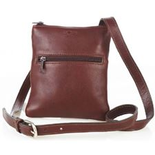 Picture of Aston Leather Ladies Slim Brown Single Zippered Shoulder Bag Brown
