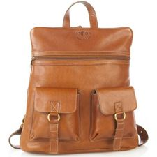 Picture of Aston Leather 2 Compartment Tan Backpack for Women