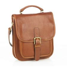 Picture of Aston Leather Medium Tan Shoulder Bag w Buckle Closure Tan