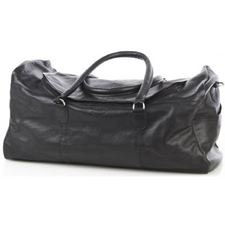 Picture of Aston Leather Large Zip Top Duffle Bag Black