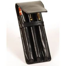 Picture of Aston Leather Three Pen Leather Case Black