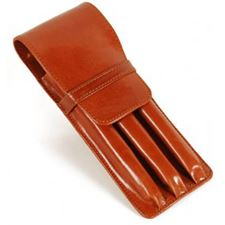 Picture of Aston Leather Three Pen Leather Case Tan