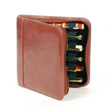 Picture of Aston Leather Leather Pen Case for 6 Pens Brown