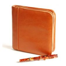 Picture of Aston Leather Leather Pen Case for 6 Pens Tan