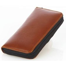Picture of Aston Leather Zipper Two Pen Case Brown