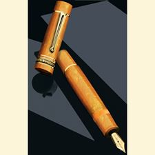 Picture of Delta Dolcevita Oro Gold Vermeil Trim Piston Fountain Pen 14K Gold Medium Nib