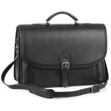 Picture of Aston Leather Ballisitic Double Compartment Briefcase for Men Black